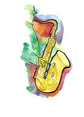 The yellow saxophone on white background