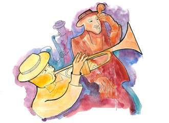 Jazz trio with trumpeter, guitarist and saxophonist