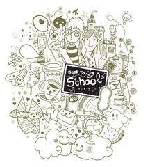Back to school doodle set notebook. Vector illustration