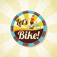 Summer bike riding retro background. Vector.