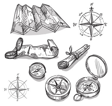 Set of hand drawn compasses and maps