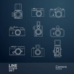 retro camera line icons set , vector Illustration