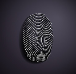 Flat metallic logo fingerprint.