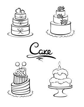 Set of design elements -- cakes