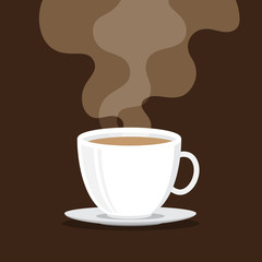 Coffee cup with smoke, brown background
