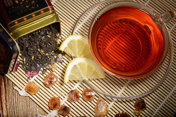 tea composition on a wooden background