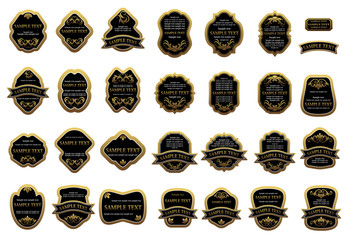 Golden label templates with floral ornament