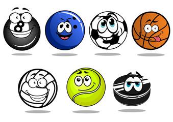Balls and puck mascots cartoon characters