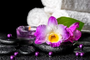 beautiful spa background of orchid dendrobium, green leaf, candl