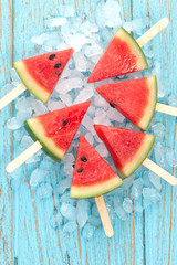 watermelon popsicle yummy fresh summer fruit dessert wood teak