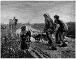 Peasants : going Home after the Work - 19th century