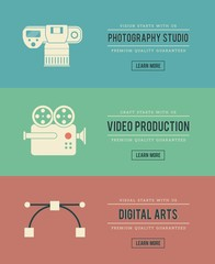 set of vintage digital arts themed banners