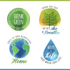 set of watercolor environmental labels