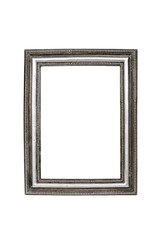 Old silver picture frame isolated over white with clipping path.