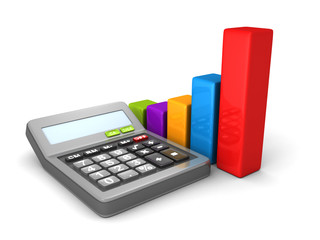 Calculator And Colorful Business Bar Chart