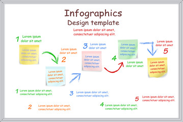 Infographic report template with board and stickers. Vector