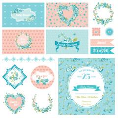 Baby Scrapbook Party Set - Flower Theme - Design Elements