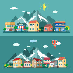 Flat design city landscapes set. Vector illustration