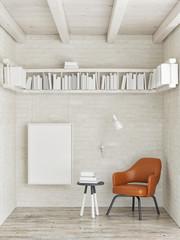 Mock up poster, bookshelf on white brick wall, 3d illustration