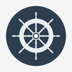 Pirate icon, helm of ship. Flat design vector illustration.