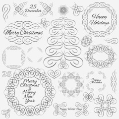 Vector design elements. Hand-drawn flourishes. Cristmas theme