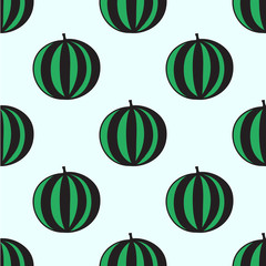 Seamless hand-drawn pattern with watermelon. Vector illustration