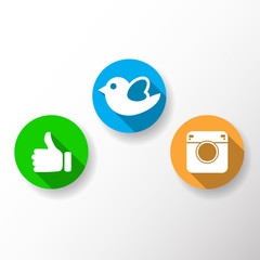 Thumb up icon, bird, camera vector illustration