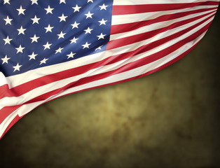 American flag in front of blurred background
