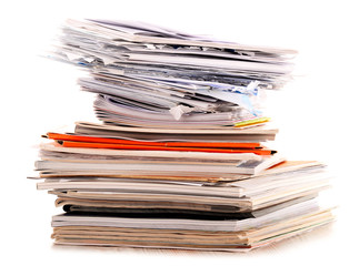 Stack of recycling paper isolated on white