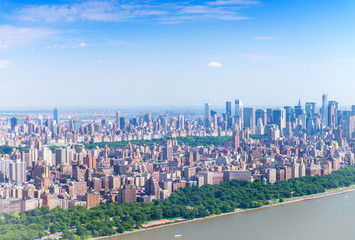 Helicopter view of Central Park and Manhattan skyscrapers as see
