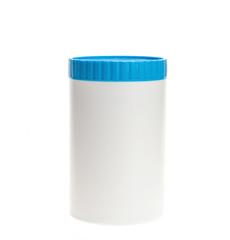 White plastic medicine bottle with blue cap