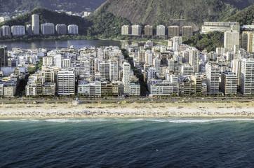 High angle aerial view of Ipanema Beach in Rio de Janeiro,Brazil
