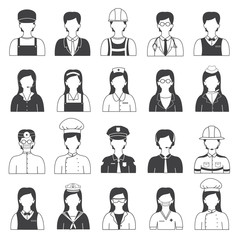 Career People and Occupation Icons Set