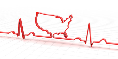 ECG, electrocardiogram in the shape of USA map