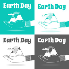 Earth Day vector Concept. Nature in human hands. Flat design.