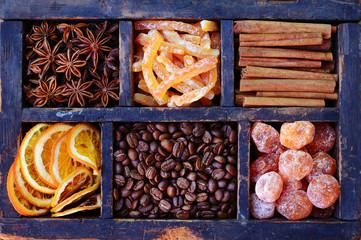 Coffee beans, kumquats, cinnamon, dried oranges and anise stars