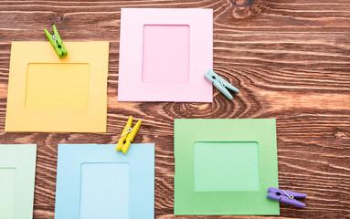 color frames on wooden