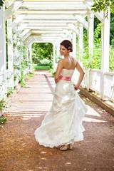 Beautiful bride dressed in white dress