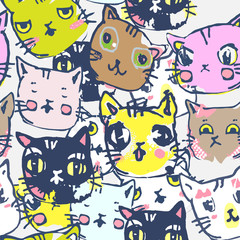 vector seamless funny background with kittens in cartoon style