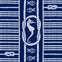 Seamless pattern with marine rope, knots , seahorses and fishes.