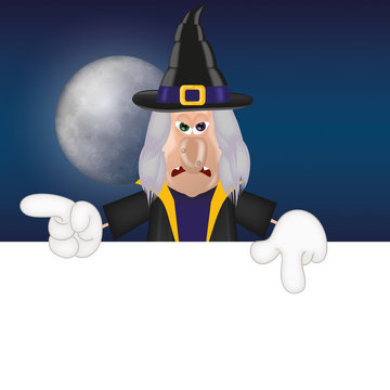 Unfriendly witch moon advertising space halloween