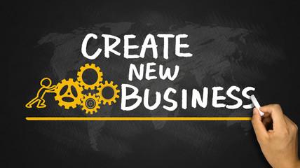 create new business handwritten on blackboard