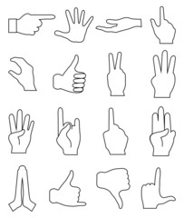 Hand signs line icons set