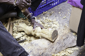 Craftsman working with wood