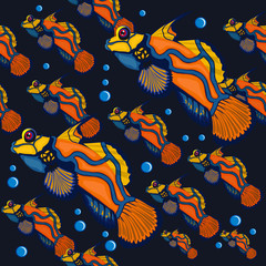 seamless pattern. Tropical fish. Colored Coral Reef Fishes.