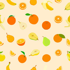 Seamless pattern with colored fruits. Vector illustration.