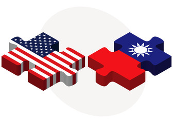 USA and Taiwan Flags in puzzle