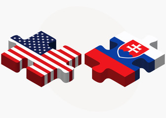 USA and Slovakia Flags in puzzle