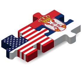 USA and Serbia Flags in puzzle