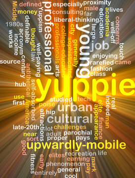 yuppie  background wordcloud concept illustration glowing